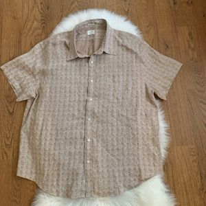 J.Crew Brown Pineapple Classic Linen Shirt XXL